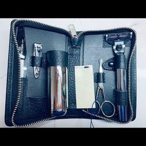 Paul Stuart Deerskin Leather Travel Shaving Kit